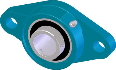 Flange bearing unit (housing). Vector illustration.