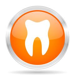 tooth orange silver metallic metallic chrome web circle glossy icon