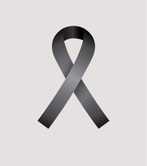 Black Ribbon, condolence icon over gray color background