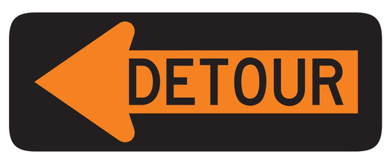 Detour Left road sign