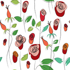 Roses garden, seamless repeatable pattern.