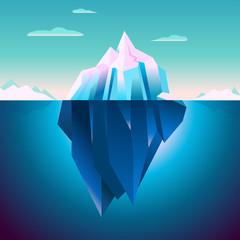 Quarz Iceberg Serenity Lowpoly Dream. Arctic Iceberg Sunrise Lights Background Vector. Polar Morning Landscape. Quartz Ice Color. Calm Iced Water. Lighting Blue Underwater Vector Illustration.