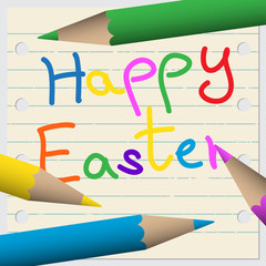happy Easter greeting card - school notebook with pencils