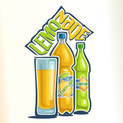 Vector illustration on the theme of the logo for lemonade, consisting of a glass cup filled with lemonade, yellow plastic bottle and a green glass bottle