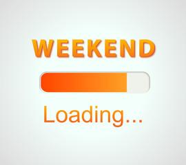 inscription loading Weekend concept illustration background