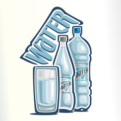 Vector illustration on the theme of the logo for drinking water, consisting of a glass cup with clean water, closed glass bottle of clear  water and a closed plastic bottle with mineral water