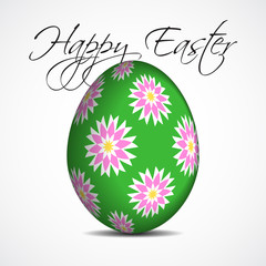 greeting card with text, floral Easter egg