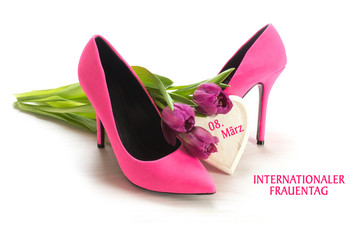 International Women's Day 8 March, german text Internationaler F