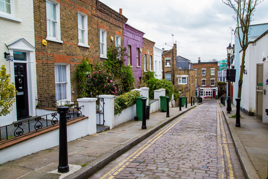 London street of typical small 19th century Victorian terraced houses