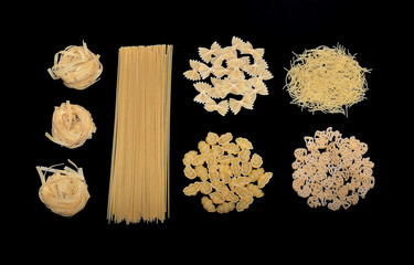 Different types of Italian uncooked pasta