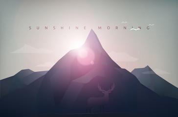 mountain sunshine morning