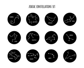 Full zodiac constellation signs set made of stars and lines