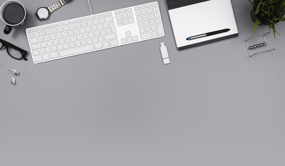 Top view office desk hero header