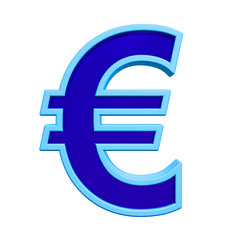 Euro sign from blue glass with frame alphabet set, isolated on white. Computer generated 3D photo rendering.