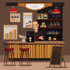 Coffee bar and barista. Vector flat illustration