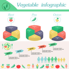 Healthy lifestyle infographic - vitamines in beet, pea,onion and vegetables. Vegeterian and diet vector concept.Basics of healthy nutrition.Pie chart, layers graphs.