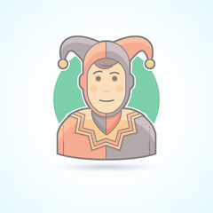 Court jester, harlequin, fool, clown icon. Avatar and person illustration. Flat colored outlined style.