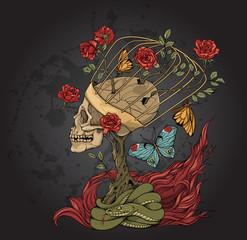 skull, bush of roses, snake and  flame