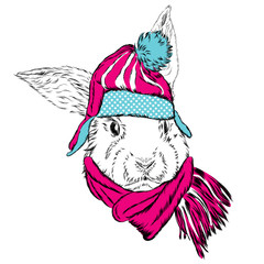 Cute rabbit in the hat and scarf. Rabbit vector.
