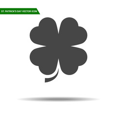 St Patricks Day clover icon flat vector.