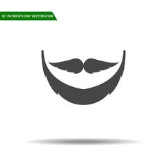 St Patricks Day beard icon flat