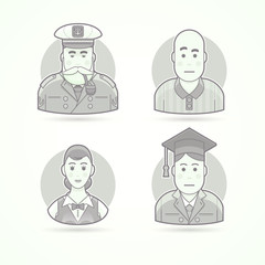 Sailor, sea dog, soccer referee, waitress, graduate man. Set of character, avatar and person vector illustrations. Flat black and white outlined style.