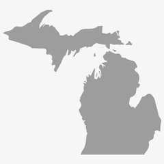 Map the State of Michigan in gray on a white background