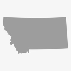 Map the State of Montana in gray on a white background
