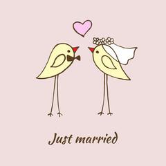 Cute birds wedding.