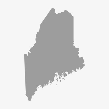 Map of Maine State in gray on a white background