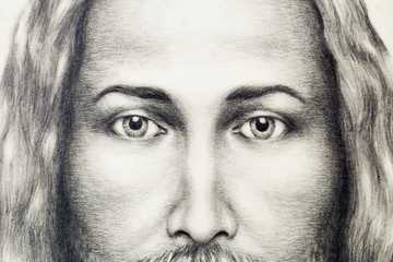 pencils drawing of Jesus on vintage paper. eye contact.