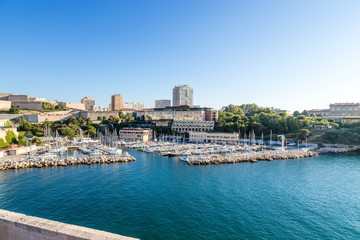 Aluminium Prints City on the water Marseille. Yacht harbor in the Old Port and Fort of Saint Nicholas