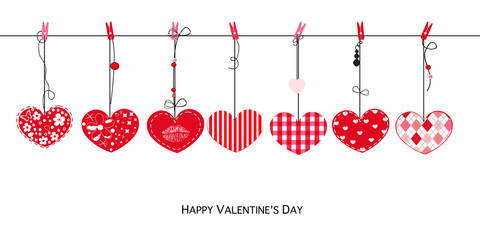 Happy Valentines Day card with hanging Love Valentines hearts vector