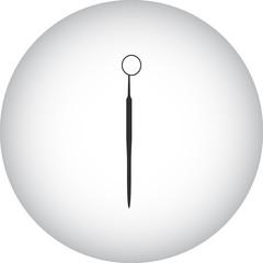 Dentist instrument simple icon on round background