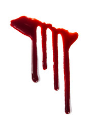 Splattered blood stains on white background