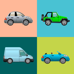 Car icon set isolated. Vector illustration.