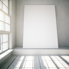Blank poster in a white loft interior with sunlight, mock up, 3d