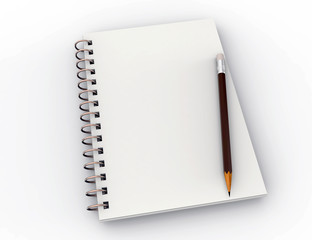 Blank notebook with pencil, isolated on white, business or education concept, mock up