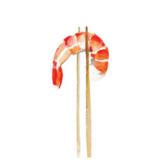 Watercolor shrimp.