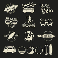 Surfer vector set. Vintage surf elements.