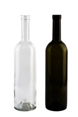 Isolated red and white vine bottles