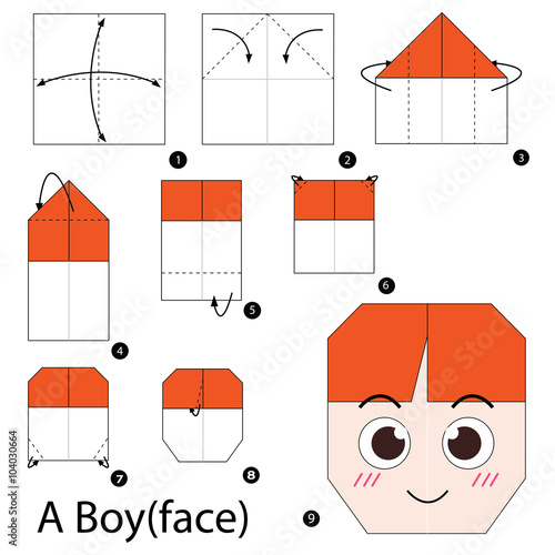 Step By Instructions How To Make Origami A Boy Face Stock Rh Fotolia Com