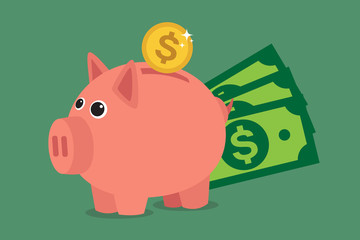 Piggy bank, save money