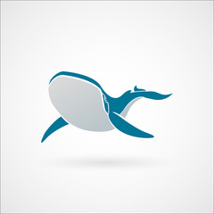 Blue whale logo sign emblem vector illustration isolated on whit