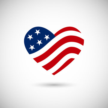 American flag in heart vector illustration sign on white backgro