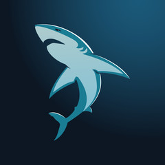 Great white shark sign logo on blue background