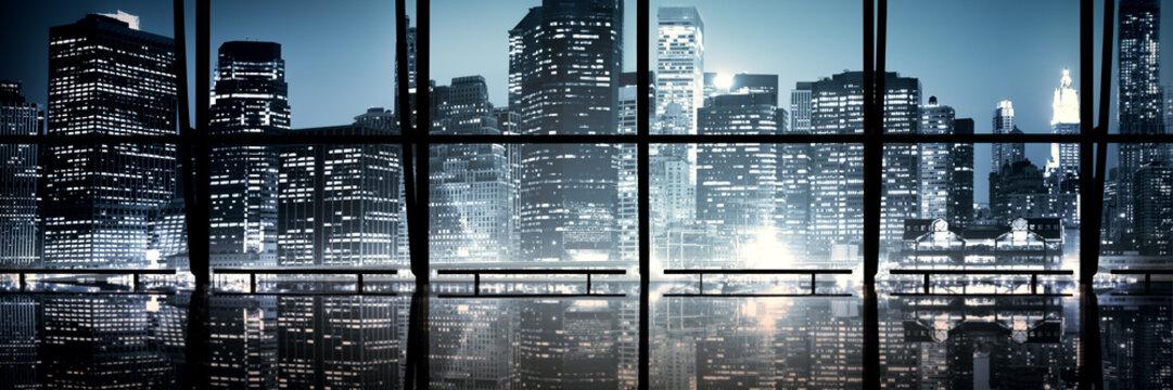 Modern NYC Interior Architecture Night Scene Concept..