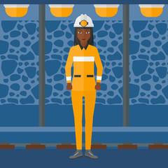 Confident miner in hardhat.