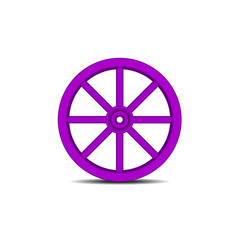 Vintage wooden wheel in purple design with shadow