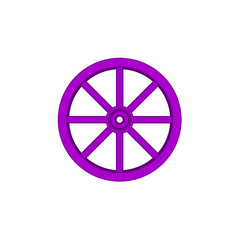 Vintage wooden wheel in purple design